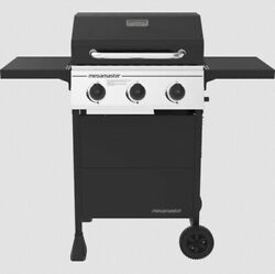 Outdoor Gas Grill 3-burner Propane Bbq Grill Silver Stainless Steel With Wheels
