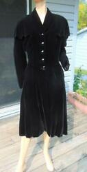 40s Black Velvet Fitted Coat Big Shawl Collar Jet Glass Buttons 30w