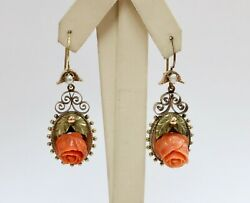 Victorian Carved Coral Rose 18k Gold Drop Dangling Antique Earrings