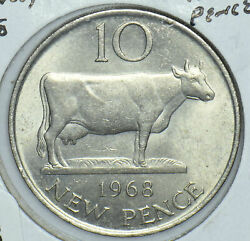 Guernsey 1968 10 New Pence Cow Animal 291800 Combine Shipping