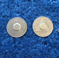 Two Recovery Coins Tokens Year 1and2 To Thine Own Self Be True W/ Serenity Prayer