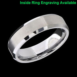 8mm Tungsten Carbide Silver Wedding Band Mens Women Brushed Comfort Fit Ring $22.99