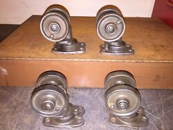 Vintage Cleaned 3-3/8 Industrial Cast Iron Double Factory Casters Set Of 4