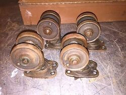 Vintage 1920 3-1/2 Rustic Patina Industrial Cast Iron Double Wheel Casters Set