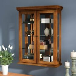 Wall Mounted Curio Cabinet Wood Antique Display Shelving Cupboard Unit Shelves