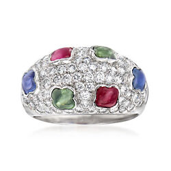 Vintage Multi-gemstone And Diamond Ring In 18kt White Gold Size 6.25