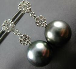 Estate .79ct Diamond And Aaa Tahitian Pearl 18k White Gold Flower Hanging Earrings
