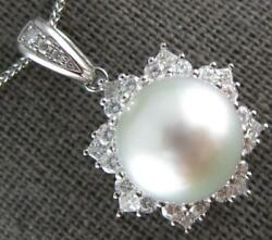 Large .90ct Diamond And Aaa South Sea Pearl 18kt White Gold 3d Flower Star Pendant