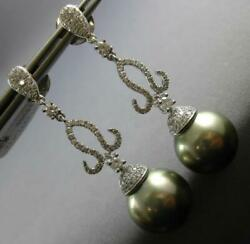 1.04ct Diamond And Aaa Tahitian Pearl 18kt White Gold 3d Filigree Hanging Earrings