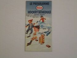 1958/59 Nhl Montreal Canadiens Schedule Esso Extremely Rare