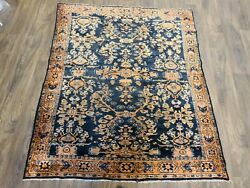 Antique Handwoven Rug Size 5and0394andtimes5and03910 Traditional Lilihan Design Dark Blue