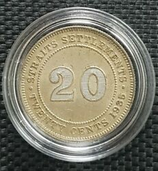 1935 India Straits Settlement George V 20 Cent Silver Coin Andoslash23mm+1 Coin 10163