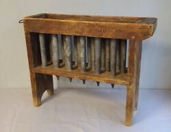 Candle Mold Rack 18 Pewter Molds Wood Frame Maker Signed Wick Rods American