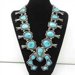 Nyjewel Vintage Silver Navajo Blossom Natural Turquoise Huge Pin Necklace