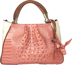 ❤brahmin Ruby Satchel Creamsicle + Roses Coral White Pleated Hobo Leather Croc❤