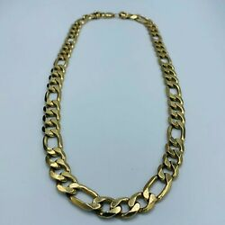 Heavy Solid 9ct 375 Yellow Gold 11mm Figaro Link 23 Necklace 99g L298