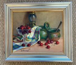 Robert Chailloux 1913-2005 - Oil Painting On Canvas - Lantern With Cherries