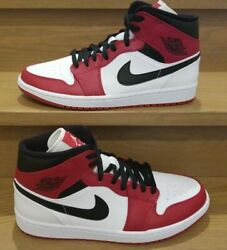 Jordan 1 Mid Bred White Heel Sold Out 100 Deadstock - 554724-173 -wht/gym Red