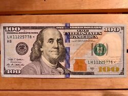 100 Dollar Bill Star Note Unique Number 11225778 2009 Very Rare