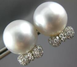 Large .36ct Diamond And Aaa South Sea Pearl 18kt White Gold 3d Bow Stud Earrings