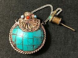 Asian Looking Vintage Metal Snuff Bottle Blue Turquoise Red Coral And Green Jade