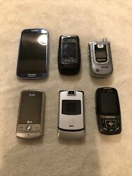 Used Lot Of 6 Phones Samsung Lg Verizon Atandt Slider Touch Flip. As Is