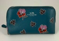 Coach Cosmetic Case Bag Travel Makeup Bag Wildflower Floral Dark Teal Blue $29.99