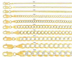 Solid 10k Yellow Gold Cuban Link Chain Necklace D/cut Pave 2mm-10.5mm Sz 16-30