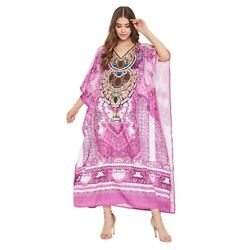 Women Plus Size Kaftan Long Dress Kimono Sleeve Caftan Pink Evening Gown Digital $21.49