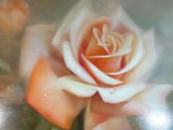 Kay Cynthia. Peach Colored Rose. Painting Oil. Original In A Wooden Frames