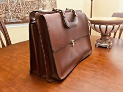 Vintage Artisan Heavy Oiled Leather Attorney - Doctor Briefcase -made In France