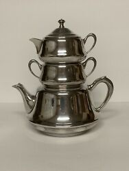 Vintage Crescent Silver Plate Stacking Teapot Set With Creamer And Sugar Bowl
