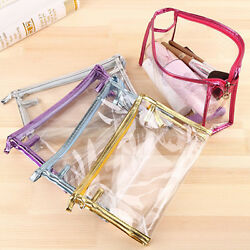 Ladies Women Cosmetic Clear PVC Makeup Wash Bag Organizer Pouch Toiletry Handbag $7.78