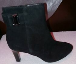 New Aquatalia Womens Black Suede Ankle Short Buckle Boots Us Size 8 M Nwob