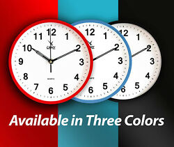 Small Wall Clock 9 Inch Silent Non Ticking Battery Operated Round Easy to Read
