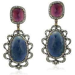 Multicolor Sapphire 4.38ct Pave Diamond 18k Gold 925 Silver Dangle Earrings Gift
