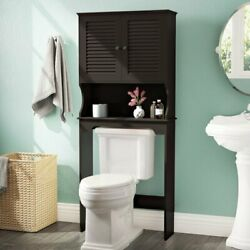 Freestanding Over The Toilet Storage Cabinet Wood Shelf Organizer Spacesaver