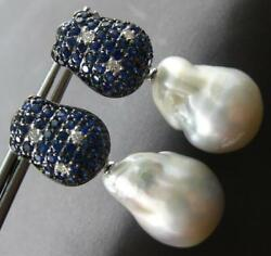3.52ct Diamond And Aaa South Sea Pearl And Sapphire 18kt Black Gold Hanging Earrings