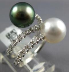 .60ct Diamond And Aaa Tahitian And South Sea Pearl 18kt White Gold Criss Cross Ring