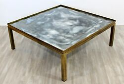 Mid Century Modern Mastercraft Bronze And Glass Square Coffee Table 1960s