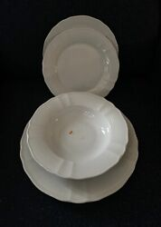 New The French Chefs Dinner Salad Plates Soup Bowl Set/4 White China 1st Quality