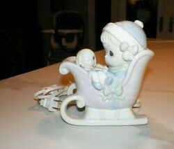Precious Moments Enesco 1993 Night Light Girl In Sleigh With Doll