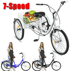 24 7 Speed Adult Trike Tricycle 3-wheel Bike W/basket For Shopping Three Color