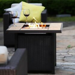 32 50000btu Outdoor Gas Fire Pit Propane Gas Heater Patio Table With Blue Glass