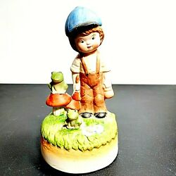 Vintage Fine Porcelain Boy With Frogs Music Box Bisque Finish Flambro 1950and039s