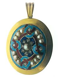 Diamond Pearl And Enamel High Victorian Lovers Knot Glass Back Large Locket 44.6mm
