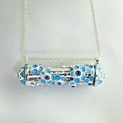 Mezuzah Pendant Jewish Necklace Forget-me-not Flowers Hebrew Shema Scroll Inside