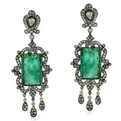 18k Gold 925 Silver 2.61ct Pave Diamond Carved Emerald Chandelier Earrings Gift