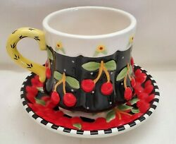 Brownlow Mary Engelbreit Cherries Cherry Teacup And Saucer