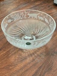 Lenox Crystal Cats Centerpiece Bowl Fine Cut Crystal Etched Decorative Glass
